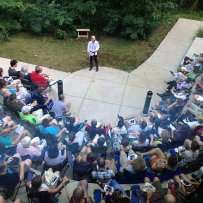 A view from the second floor, outdoor opening night