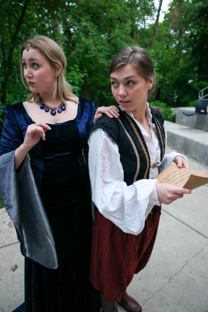 Celia (Annalyse Lapajenko) and Ganymede (Bridget Christine Kelly) in As You Like It